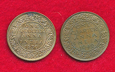 India-British 1930 & 1942 1/4 ANNA  (2 Coins)  Bronze