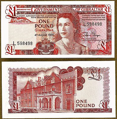 Gibraltar £1 Banknote, 1988, P-20e, The Last £1 note before replaced by coin.UNC