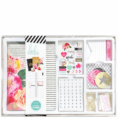 NEW Heidi Swapp Pink Flower Black Stripes Personal Planner Box Kit Sticker Clips