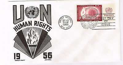 Worldwide Cover Un Cover Fdc 1956 Human Rights Un-Addressed Great Cachet