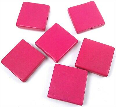 6 Wood Flat Square Beads 30mm - Hot Pink