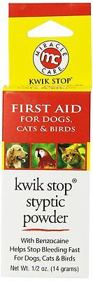 MiracleCare Kwik-Stop Stypic Powder Bleeding Minor Cuts Nail Clippings 0.5oz