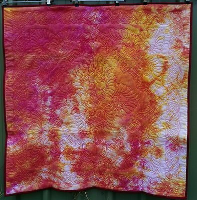 PRICED TO SELL, handmade quilt, mini wholecloth, hand dyed fabrics, lap size