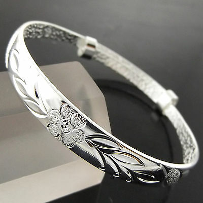 A789 Genuine Real 925 Sterling Silver S/f Solid Girls Kids Cuff Bangle Bracelet