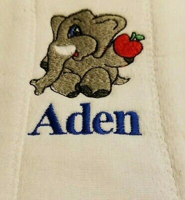 Baby Personalized Burp Cloth Elephant
