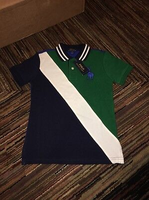 Nwt Polo Ralph Lauren Boys French Navy Green Banner Striped Rugby Shirt