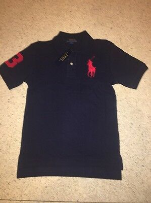 Nwt Polo Ralph Lauren Boys Big Pony Short Sleeve Rugby Shirt French Navy