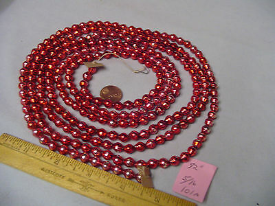 "Christmas Garland Mercury Glass Red 92"" Long 5/16"" Beads #101A Vintage"