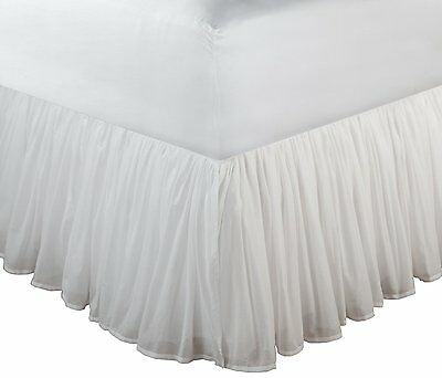 Greenland Home Queen Cotton Voile Bedskirt, White