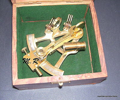 Solid Brass Sextant Nautical Maritime Astrolabe Marine Gift With Wooden Box