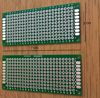 Double Sided Prototype PCB 3x7cm x 2 (Free 1st Class Delivery UK)