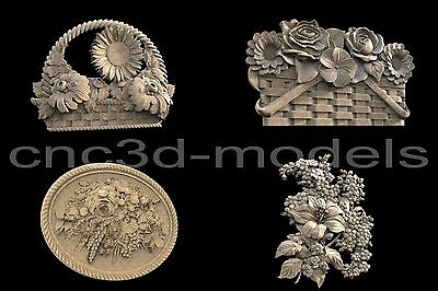 3D STL Models for CNC Router Engraver Carving Artcam Aspire Flowers 116