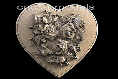 3D STL Models for CNC Router Engraver Carving Artcam Aspire Heart Rose 251