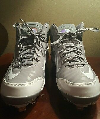 Men's Nike 616258 Air Swingman MVP 2 Mid Metal Baseball Cleats Size 13 Gray NEW