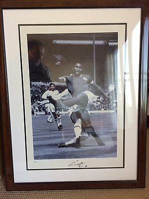 eusebio signed black and white framed Picture