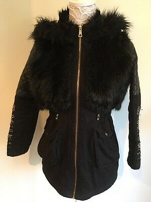 Stunning River Island Black Coat Age 12 Faux Fur Leather Quilted Hooded Beaded