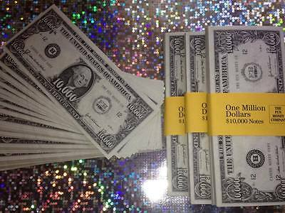 100 x $10,000 BILLS. Fun/Fake Money/Dollars/Party/Casino/Stag/Hen/Monopoly/Play