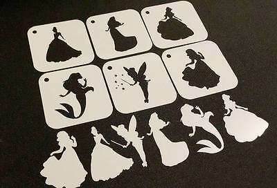 DISNEY PRINCESS Set of 6pcs Stencil Airbrushing Kids Party Decoration Face Paint