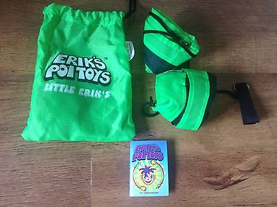 Erik's Poi Toys, Little Erik's, Green And Black, 2 Tail Twirling, Brand New