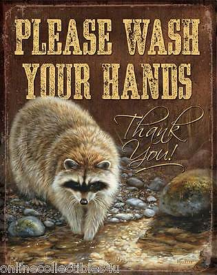 Raccoon Tin Sign Please Wash Your Hands
