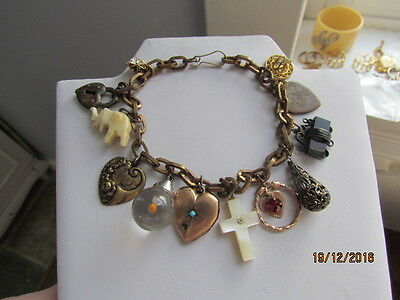 Antique Victorian Deco Gold Gilt & Filled Mustard Seed Heart Fob Charm Bracelet