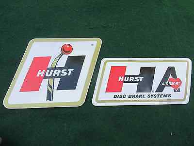 "PAIR of Vintage Hurst Shifter Stickers: 6-1/4"" X 4-3/4"" & 7-1/4"" X 3-1/4"""