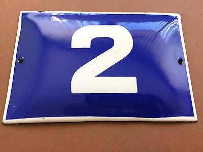 ANTIQUE VINTAGE ENAMEL SIGN HOUSE NUMBER 2 BLUE DOOR GATE SIGN 1950's