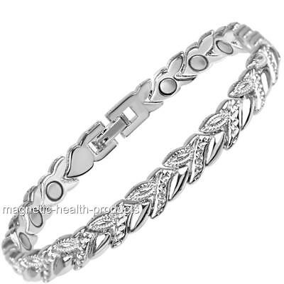 Ladies Magnetic Health Bracelet Silver Bangle Arthritis Pain Relief 179
