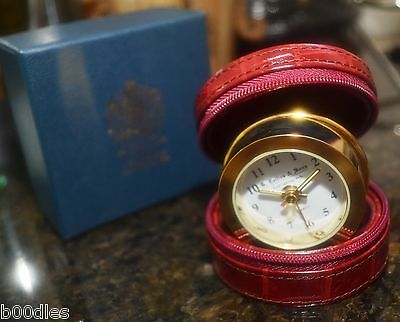 G. Collins & Sons (Royal Jewellers) Goldtone Travel Clock In Leather Case