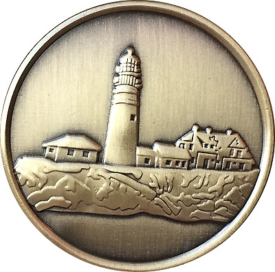 Fog Light Prayer Lighthouse Antique Bronze Medallion AA NA Sobriety Chip Coin