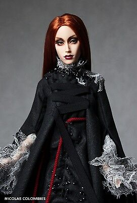"OOAK outfit for 16"" Doll Sybarite Haute couture wool gown dress silk art costume"
