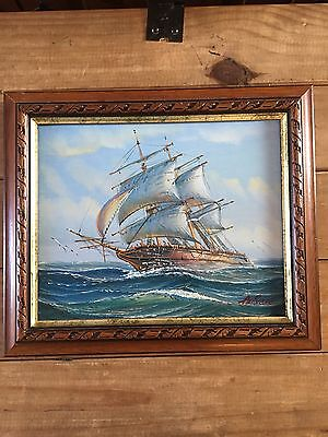 Oil Painting Seascape Sailing Ship Signed By Ambrose