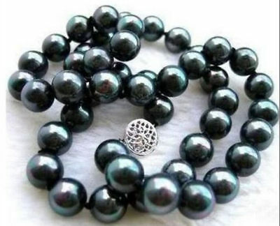 Aaa+ Tahitian 9-10Mm Black Natural Pearl Necklace 22 Inch