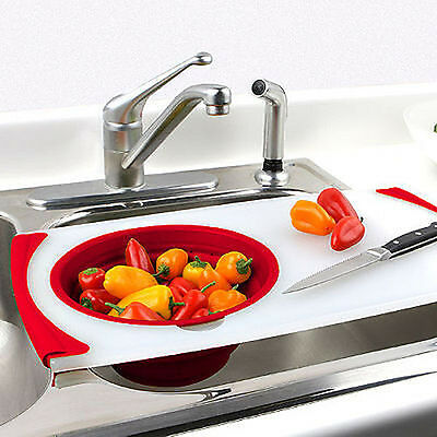 Dexas Collapsible Over the Sink Strainer Board - 3 Piece Set - New