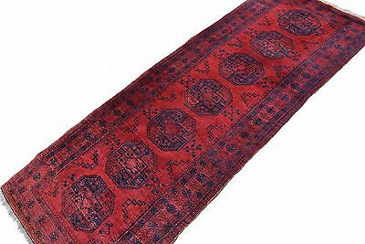 Afghan Teppich 283x105 cm rot Läufer 100% Wolle Galerie! rug Tapis Tappeto