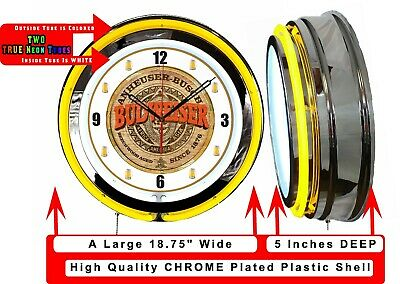 "19"" Double Neon Clock BUDWEISER BEER Chrome Finish"