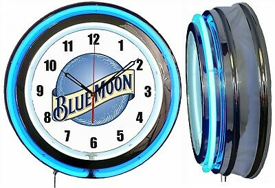 "19"" Double Neon Clock BLUE MOON BEER Chrome Finish"