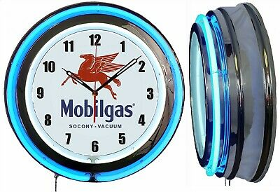 "19"" Double Neon Clock Mobile Gas Vintage Style Metal Sign Chrome Finish"