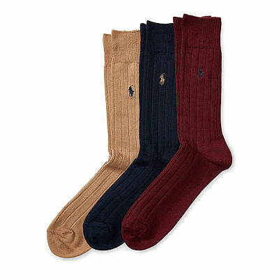 Men's Ralph Lauren 3 Pack POLO Socks 10-13 Ribbed Combed Cotton Trouser Custom