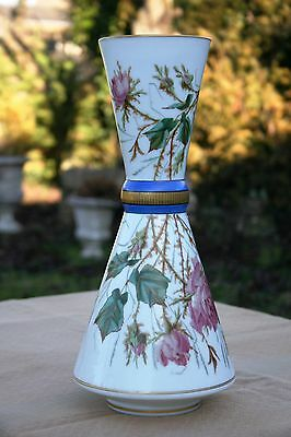 ANTIQUE FRENCH 19th C. LARGE GILT WHITE OPALINE CRYSTAL FLORAL VASE HANDPAINTED