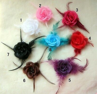 Wedding Bridal Bridesmaids Rose Flower Feather Fascinator Hair Head Clip Brooch