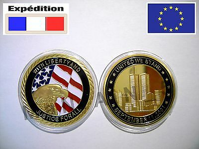 9/11 911 Gold plated World Trade Center Commemorative Patriotic Coin NYC