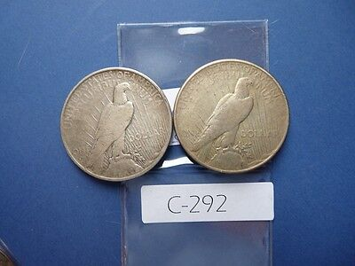 Vintage Usa 1935 & 1935 S  Silver Dollar Peace Type     C292