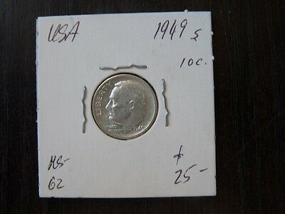 VINTAGE USA 1949 S  10 CENT SILVER Roosevelt VERY  HIGH QUALITY VALUE 25.00  C35