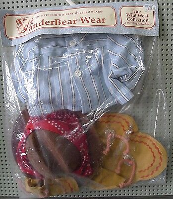 VanderBear Wear Wild West Fuzzy The Kid Outfit Shirt Jeans Chaps Cowboy Hat NOS