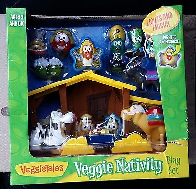 New In Box Veggie Tales Nativity Play Set RARE Hard to Find HTF w/ Lights Music