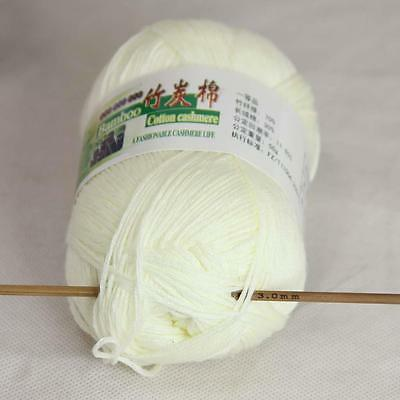 Sale New 1Skeinx50g Soft Baby Natural Smooth Bamboo Cotton Hand Knitting Yarn 02