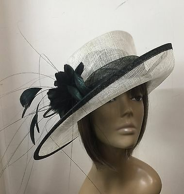 New Black & Cream Women's Wedding Hat Mother Of The Bride/Groom Ladys Day Ascot