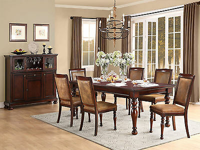 TROY - 7pcs Cottage Cherry Brown Rectangular Dining Room Table & Chairs Set New
