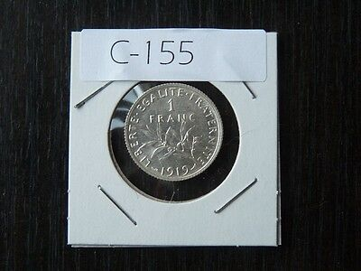 Coin France 1919 1 Francs  Silver High Quality    C155